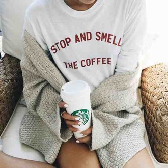 sweater shirt white coffee cute grundy white t-shirt graphic tee t-shirt quote on it cardigan grey cardigan oversized cardigan starbucks coffee nail polish white nails
