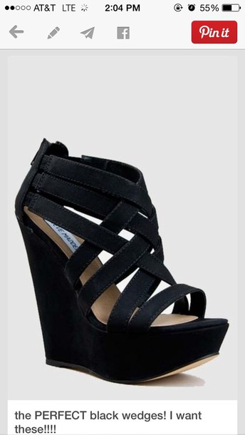 shoes heels wedges black straps suede steve madden black wedges staps suede heels steve madden size 8 suade straps