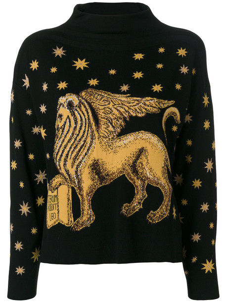 Alberta Ferretti sweater embroidered lion women black wool stars