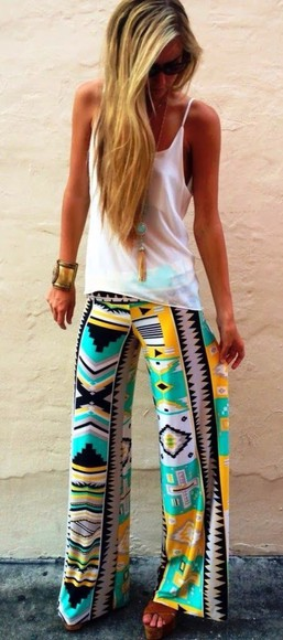 pants yellow colourful aztec pattern lounge pants flowy pants teal top with egyptisk print pants, aztec, tribal pants aztec pattern colourful yellow aqua pretty