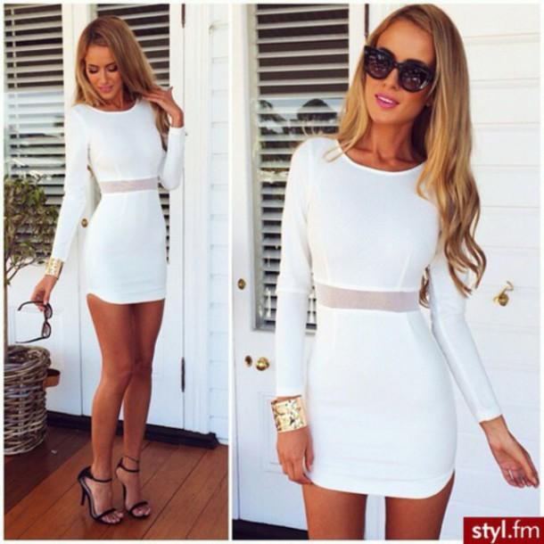 dress white dress bodycon dress