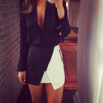 skirt black white zip fashionista awesomness