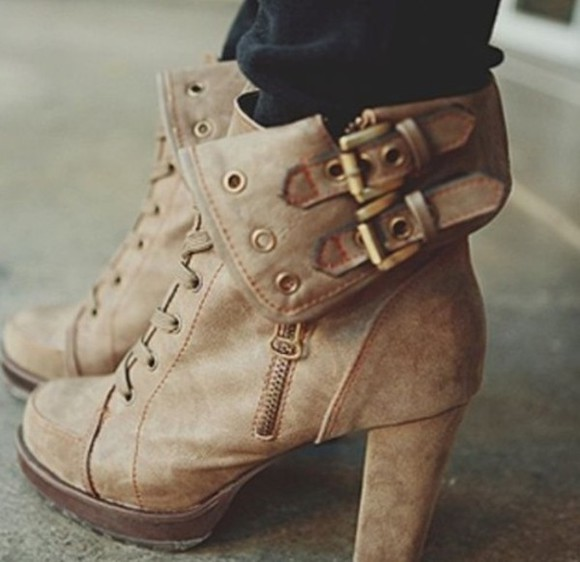 boots ankle boots buckles brown leather boots tan lace up booties