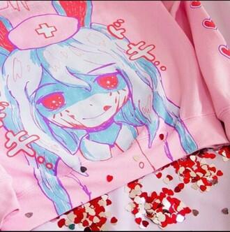 sweater pink anime japan japanese japanese fashion japanese sweater japanese sweatshirt nurse evil eye bunny bunny ears