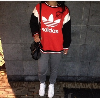 red white black adidas red sweater purse adidas shoes white shoes sweatpants instagram stan smith