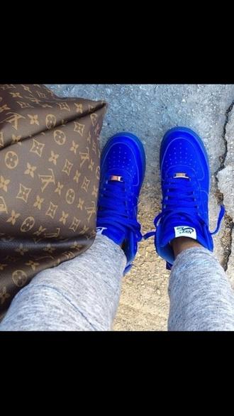 shoes nike air force 1 nike hipster high top sneakers blue sneakers royal blue nike air nike sneakers blue purse louis vuitton
