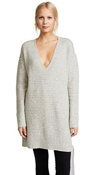 Free People sweater heart grey