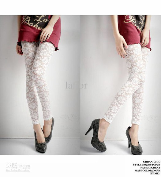 leggings tights white lace top fashion