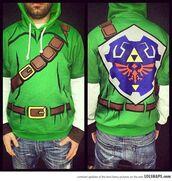 jacket,zelda,hoodie,green,geek,video game,sweater,green link costume sweatshirt