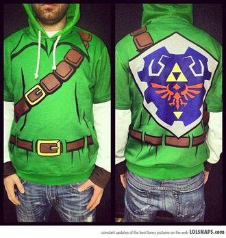 jacket zelda hoodie green geek video game sweater green link costume sweatshirt