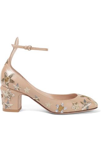 embellished pumps leather beige shoes