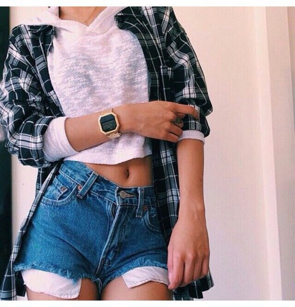 Shirt crop tops denim shorts outfit flannel shirt midriff top shorts skirt dress ...