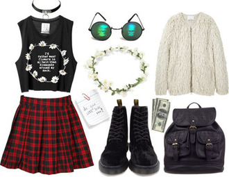 coat shoes skirt bag shirt black cool grunge hair outfit