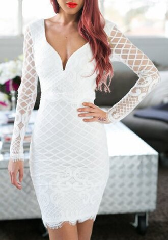 dress sexy white summer long sleeves mesh party elegant midi dress girly feminine cute mature style fashion outfit clothes stylish fashionista