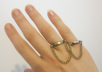 New gold double connecting chain two finger bondage slave ring choose your size