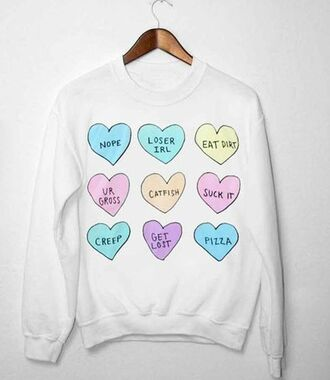 sweater tumblr pastel pink cute heart text tee