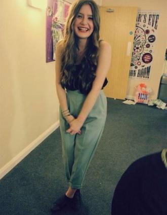 high waisted pants trouser green