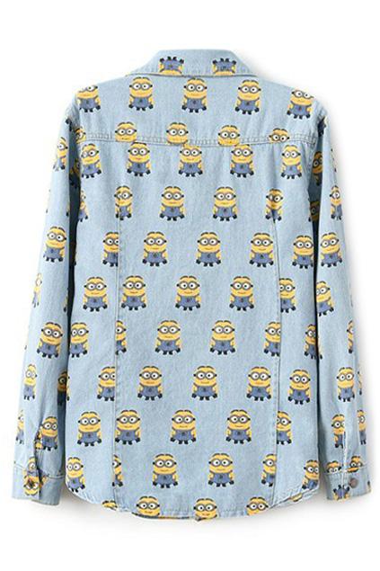 Minions Print Long Sleeves Light-blue Denim Shirt | Pariscoming