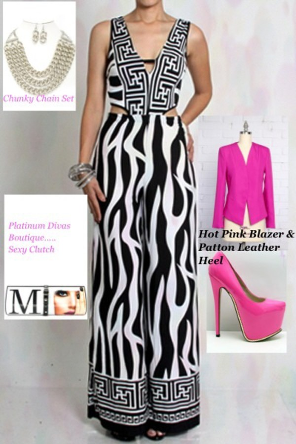 jumpsuit hot pink pump black and white jumpsuit hot pink blazer pink heels magazine clutch chunky chain necklace shoes