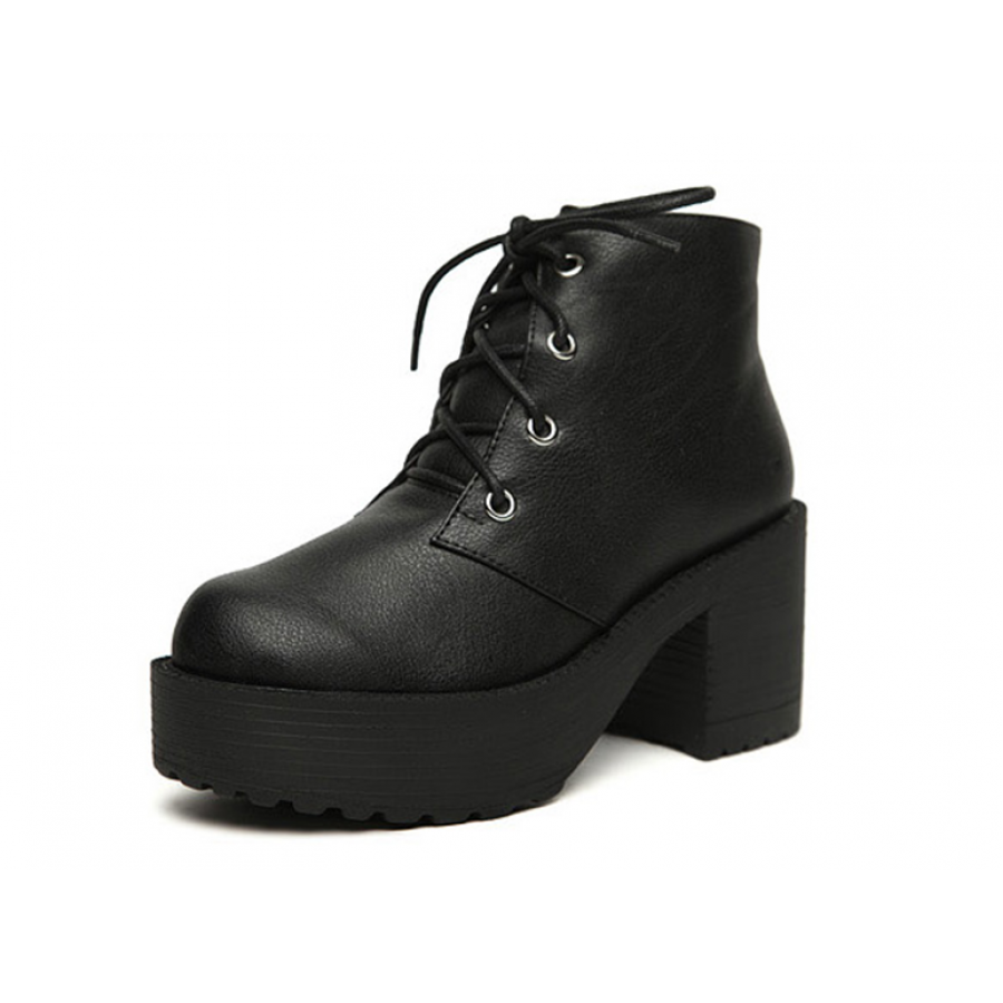Leather Platform Lace-Up Heel Boots