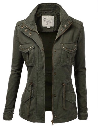 jacket military style festival style fashion festival green jacket army green jacket army green army studs