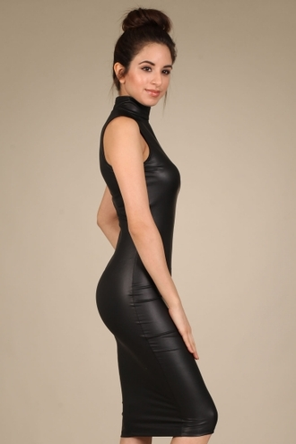 dress trendyish turtleneck high neck sleeveless zip faux leather midi bodycon tight