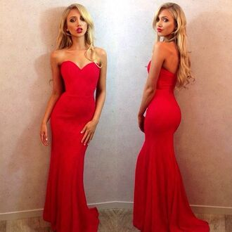 dress red red dress prom dress evening gown fitted dress sweetheart dresses