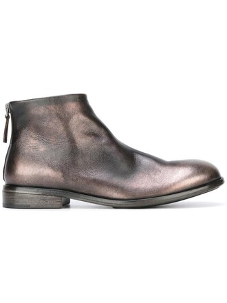 metallic women boots ankle boots leather grey shoes