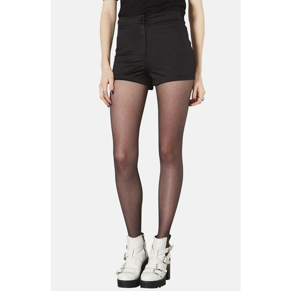 Topshop Shiny High Rise Shorts (Petite) Black 4P - Polyvore