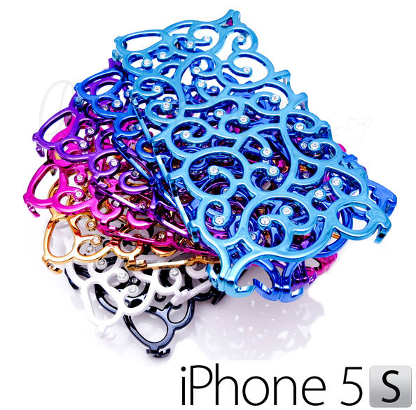 Crystal Rhinestone Bling Chrome Hollow Spiral Case Cover Skin for iPhone 5 5S