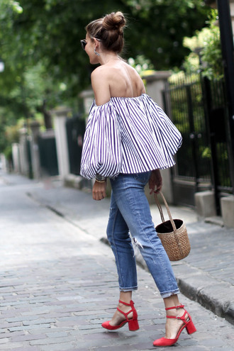 top tumblr stripes striped top off the shoulder off the shoulder top puffed sleeves sandals sandal heels high heel sandals denim jeans blue jeans bag basket bag shoes