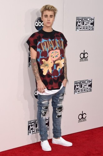 t-shirt amas 2015 justin bieber mens t-shirt urban menswear mens jeans jeans mens ripped jeans