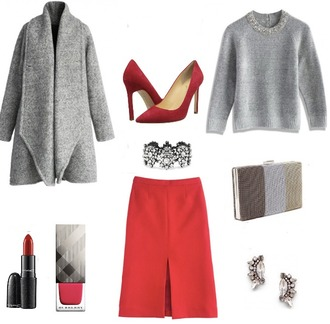 lilly's style blogger red heels red skirt grey sweater grey coat ear cuff clutch outfit bracelets diamonds