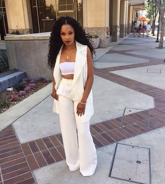 jumpsuit all white everything cream off-white two-piece sleeveless blazer bell bottoms formal classy