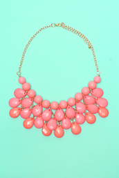 jewels,pink,coral,gems,cute,gold,necklace,beaded