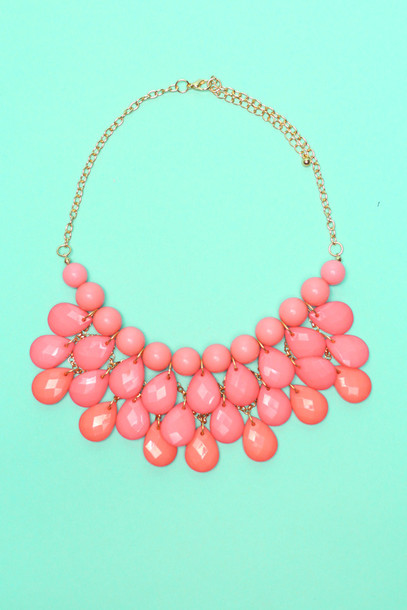 jewels pink coral gems cute gold necklace beaded