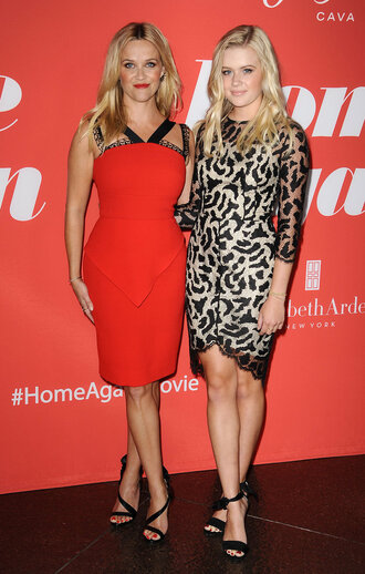 dress ava witherspoon reese witherspoon red dress sandals animal print shoes