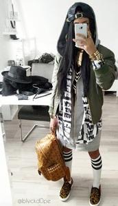 jacket,blvckdope,black,white,khaki green jacket,jewels,blouse,bag,socks