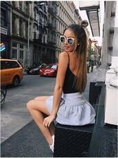 skirt,black vest,skater skirt,black,vest,sunglasses,cat eye,tumblr outfit,tumblr,grey skirt,mini skirt
