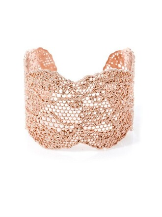 cuff rose gold rose lace gold jewels
