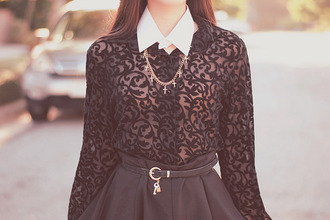 blouse shirt embroidered under white black crop tops cross necklace jewels collar black blouse necklace lace cute pretty indie tumblr hipster long sleeves