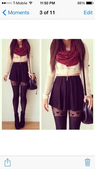 scarf skirt shoes top tights full outfit