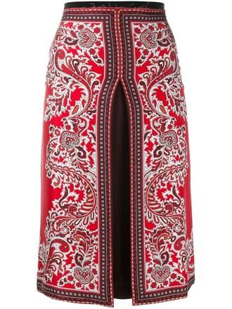 skirt women slit silk paisley red
