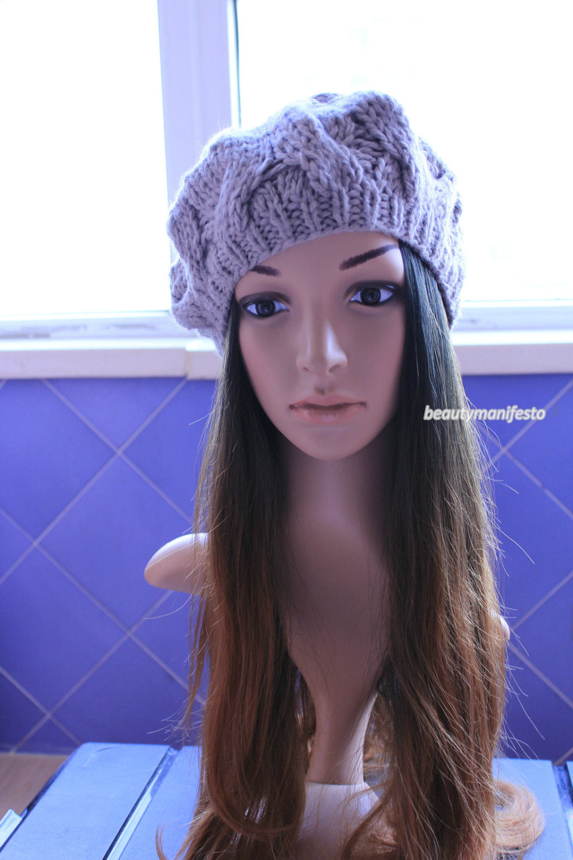 Gray slouchy hat knit charcoal grey beanie slouch hat women teen great gift idea dark gray