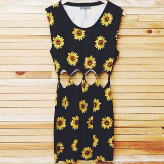 dress floral sunflower pacsun crop tops black yellow