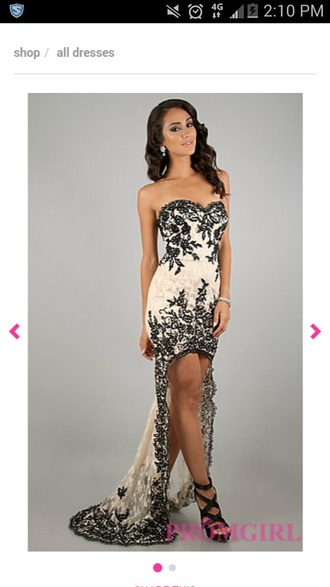 dress nude and black lace dress lace prom prom dress gown fashion black white
