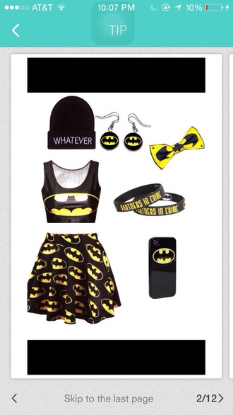 skirt batman skirt hat jacket tank top hair accessory phone cover