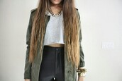 jacket,disco pants,fashion accessory,army green jacket,ombre hair