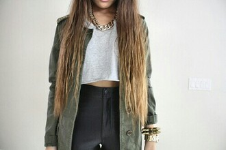 jacket disco pants fashion accessory army green jacket ombre hair