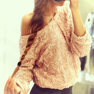 sweater shirt roses top pink cute lovely blouse girly winter sweater jumper pink jumper pattern rose flowers mint off the shoulder long sleeves cool fashion style rosegal dec rosegal-dec fall outfits rose wholesale rose wholesale-dec